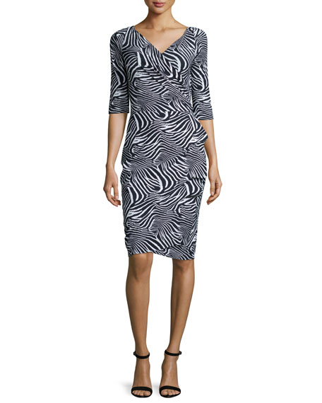 La Petite Robe di Chiara Boni 3/4-Sleeve Zebra-Print