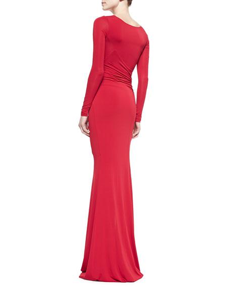 Long-Sleeve Cold-Shoulder Slash Gown, Real Red