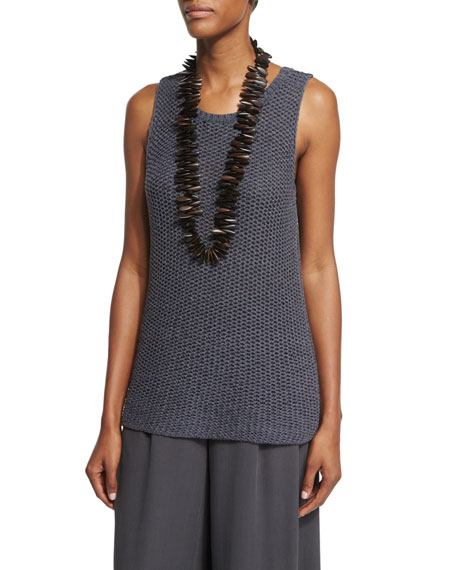 Eileen Fisher Fisher Project Open-Weave Jersey Shell
