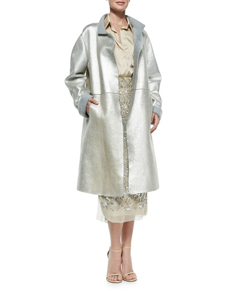 Donna Karan Metallic Leather Topper Coat, Platinum