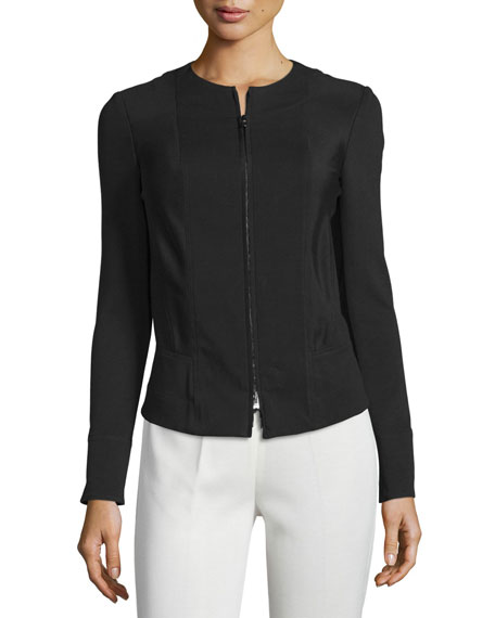 Donna KaranLong-Sleeve Zip-Front Jacket, Black