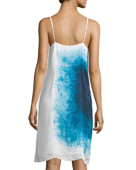 Sleeveless Scarf-Print Slip Dress, Atlantic