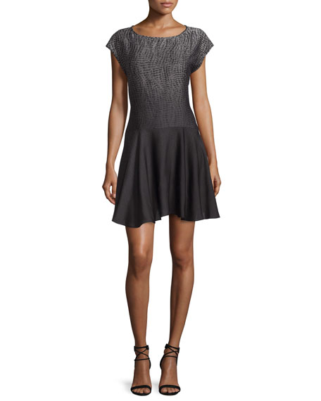 Halston Heritage Cap-Sleeve Fit-&-Flare Dress, Gray