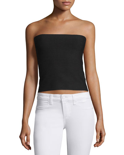 Strapless Sweater Top W/Back Slash, Black