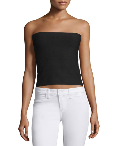 Halston Heritage Strapless Sweater Top W/Back Slash, Black