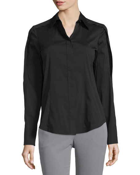 Donna Karan Open-Sleeve Collared Blouse, Black