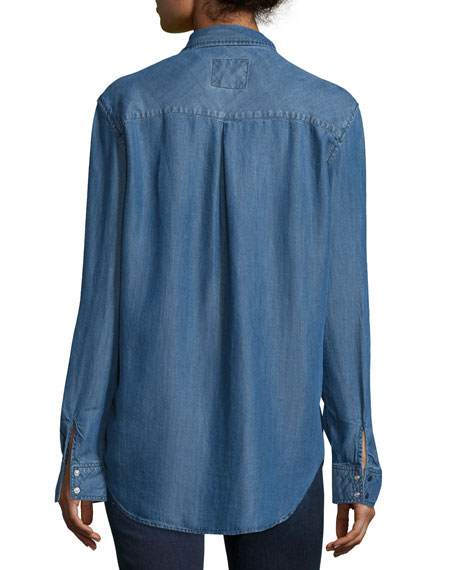 Marlow Snap-Front Chambray Shirt, Dark Vintage