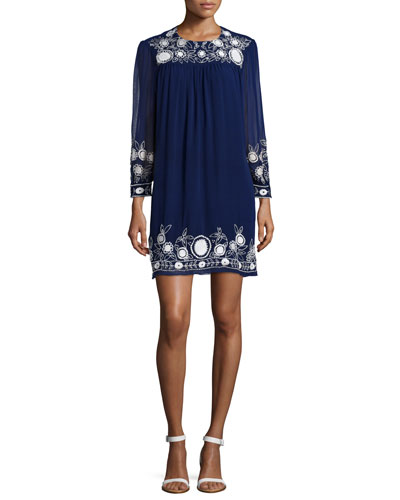 Truman Embroidered Shift Dress, Indigo/Chalk