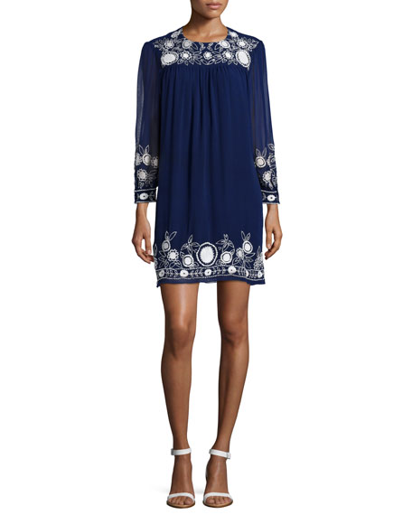 Rebecca Minkoff Truman Embroidered Shift Dress, Indigo/Chalk
