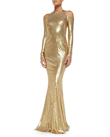 Sequined Cold-Shoulder Mermaid Gown