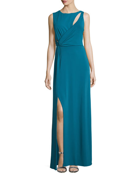 Halston Heritage Sleeveless Slash-Detail Column Gown, Atlantic
