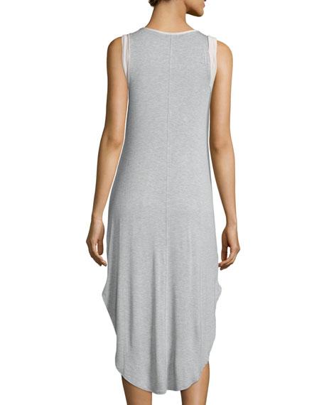 Scoop-Neck Tank Dress, Heather Gray/Nude Blush