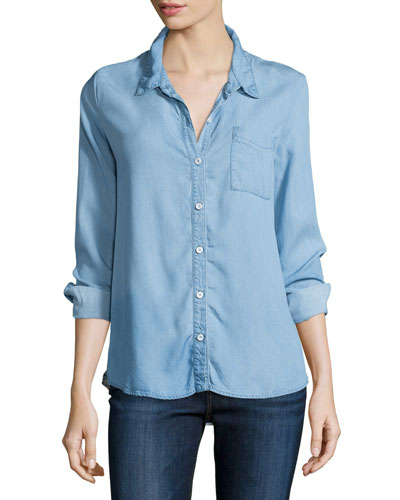 Splendid Cielo Button-Front Chambray Shirt, Indigo Light Wash
