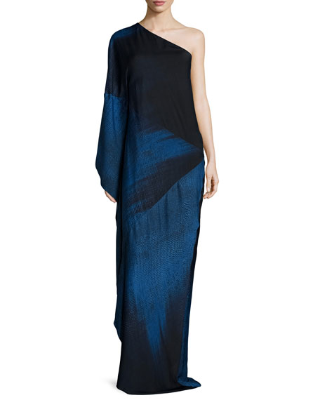 Halston Heritage One-Shoulder Ombre Gown, Sky Blue