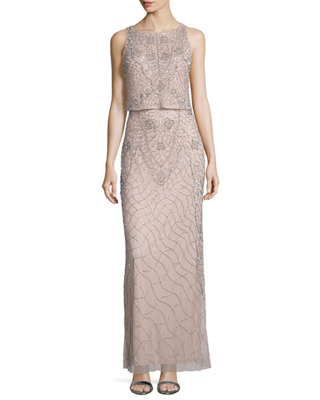 Aidan Mattox Sleeveless Popover Embellished Gown, Blush