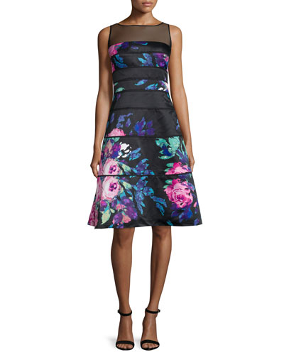 Sleeveless Floral-Print Dress, Passion/Multi
