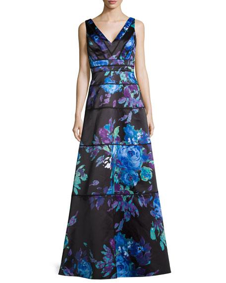 Aidan Mattox Sleeveless Floral-Print Ball Gown, Blue Multi