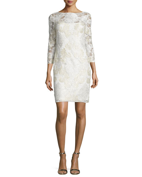 Aidan Mattox 3/4-Sleeve Lace Sheath Cocktail Dress