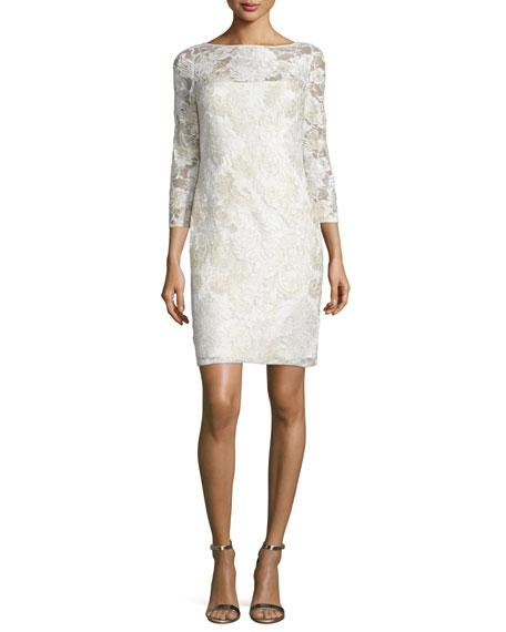 Aidan Mattox 3/4-Sleeve Lace Sheath Cocktail Dress