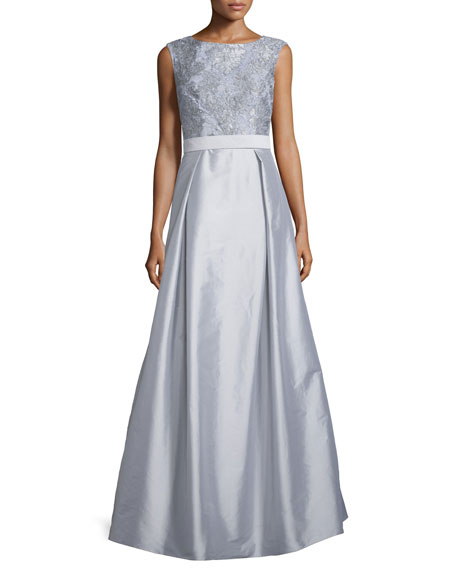 Sleeveless Lace-Bodice Ball Gown, Silver