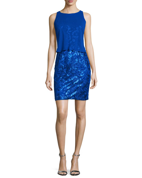 Aidan by Aidan Mattox Overlay-Bodice Sequined Dress, Neptune