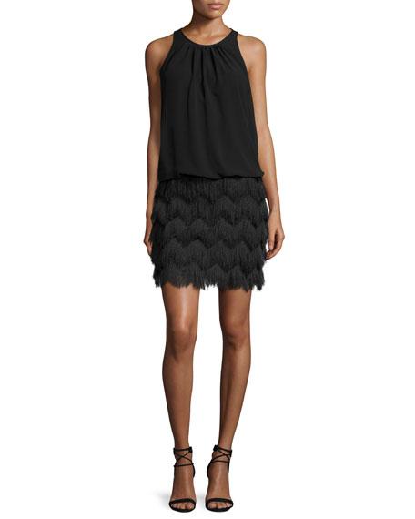 Aidan by Aidan Mattox Sleeveless Fringe-Skirt Cocktail Dress,