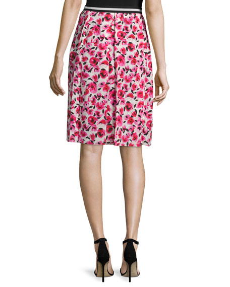 mini rose-print pleated skirt, cream/multi