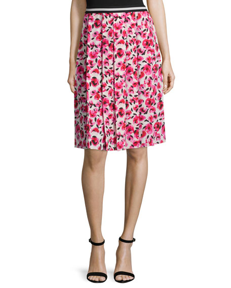 kate spade new york Mini Rose-Print Pleated Skirt, Cream/Multi