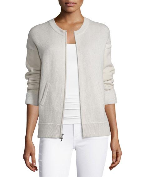 Donna Karan Fur-Cuff Zip-Front Cashmere Jacket, Chalk