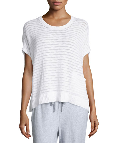 Eileen Fisher Short-Sleeve Boucle Striped Box Top
