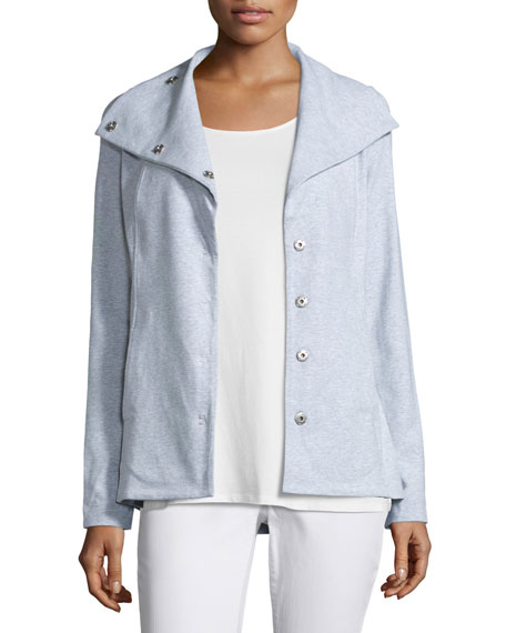 Eileen Fisher Snap-Front Long Jacket W/Pockets, Dark Pearl