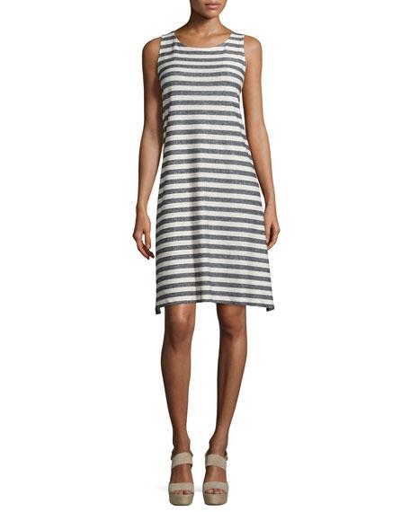 Eileen Fisher Sleeveless Plaited Striped Dress, Moon