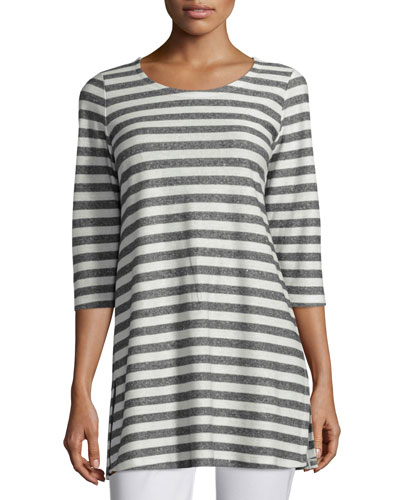 Scoop-Neck Striped Tunic, Moon