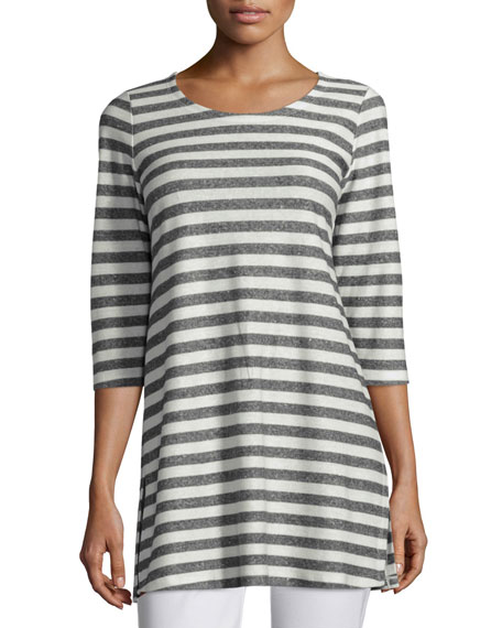 Eileen Fisher Scoop-Neck Striped Tunic, Moon