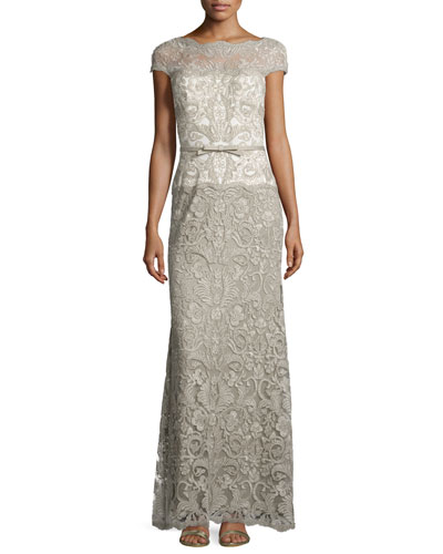 Cap-Sleeve Lace Column Gown
