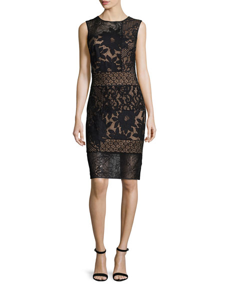 Tadashi Shoji Sleeveless Patchwork Lace Sheath Dress