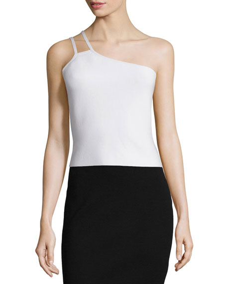 Halston Heritage One-Shoulder Crop Top, Linen White