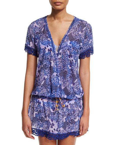 Maaji Wild Lavender Short-Sleeve Coverup Mini Dress, Multi Colors
