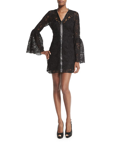 Long-Sleeve Lace Zip-Front Mini Dress, Black