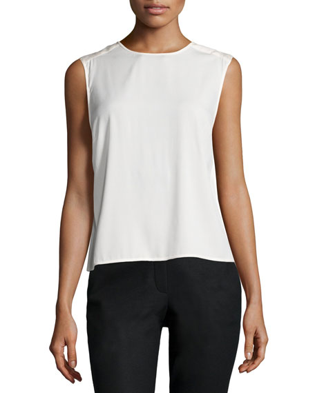 Halston Heritage Sleeveless Draped-Back Top, Bone
