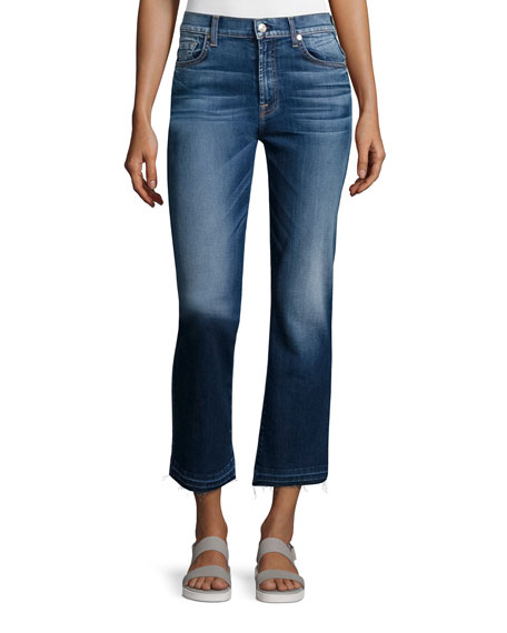 7 For All Mankind Boot-Cut Cropped Jeans W/Released