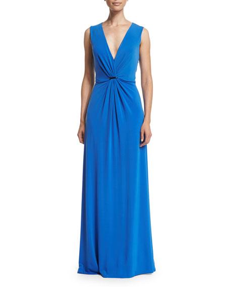 Halston Heritage Sleeveless Twist-Front Gown, Cobalt
