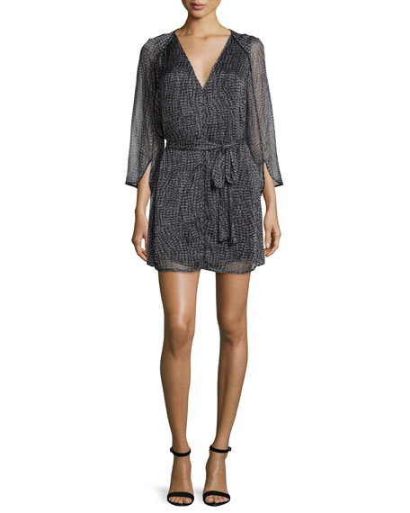 Halston Heritage 3/4-Sleeve Caftan Dress W/Belt, Charcoal Wave