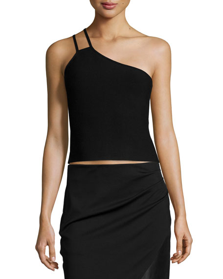 Halston Heritage One-Shoulder Crop Top, Black
