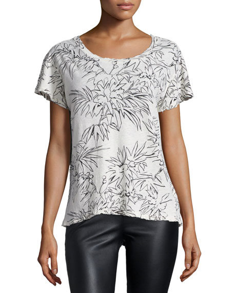 Current/Elliott The Crewneck Printed T-Shirt, Dirty White Palm
