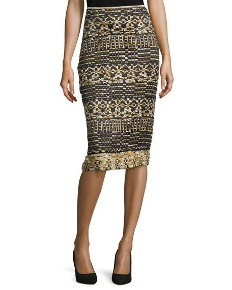 Donna Karan Mid-Rise Tweed Pencil Skirt, Black/Gold