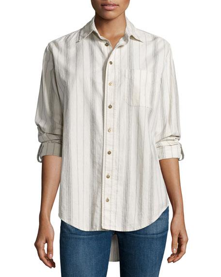 Current/Elliott The Prep School Shirt, Thin Stripe