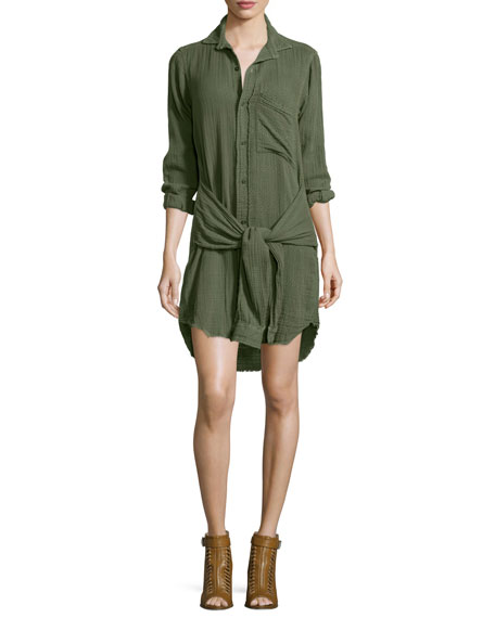 Current/Elliott The Twist Button-Front Shirtdress, Light Olive