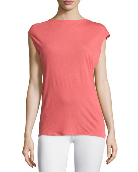 Halston Heritage Cap-Sleeve Draped-Back Top, Melon