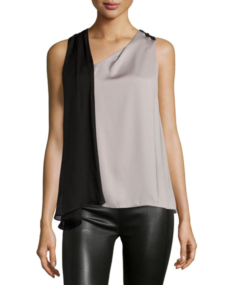 Halston Heritage Sleeveless Two-Tone Draped Top, Stone/Black